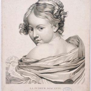 Estampe - la pudeur agaçante - d'après Greuze gravé par Henri Legrand