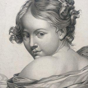 Estampe – la pudeur agaçante – d'après Greuze gravé par Henri Legrand