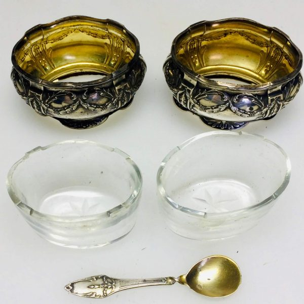 Paire de salerons en argent - style Louis XV en verre