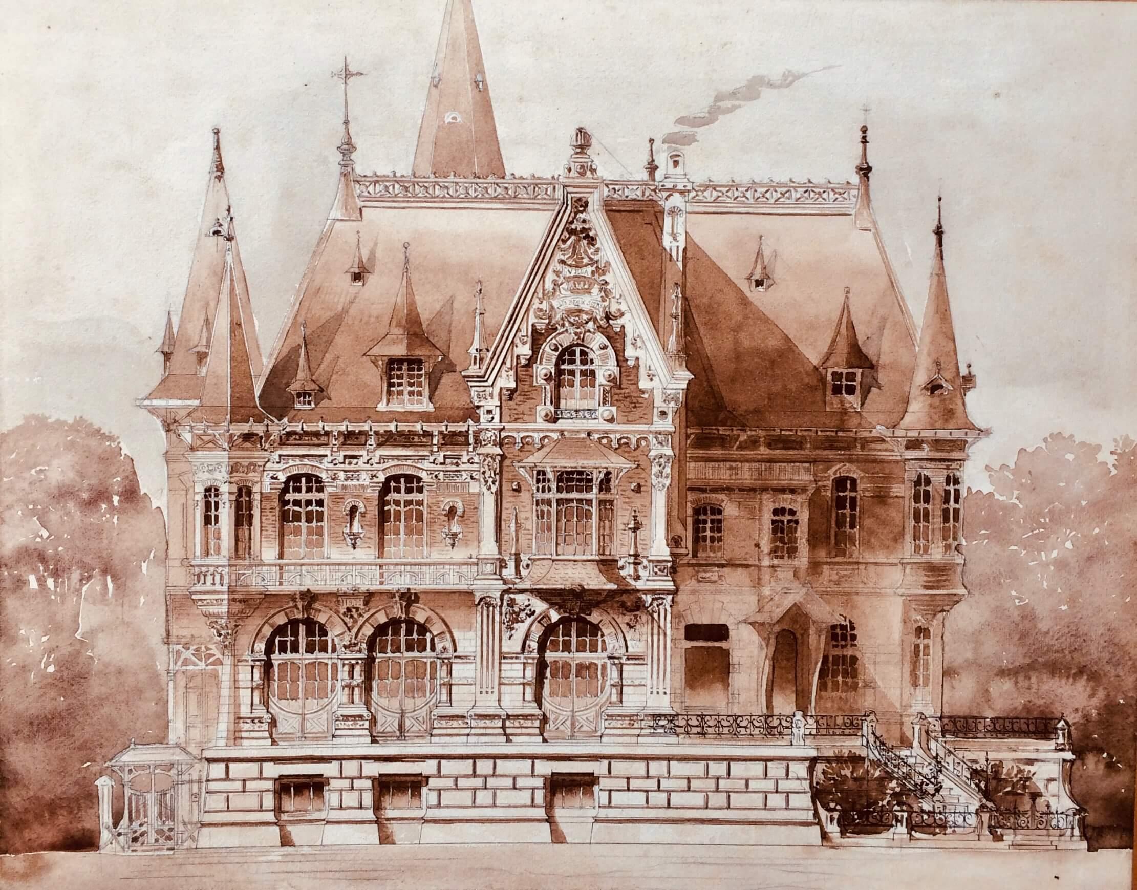 Maison En Ruine Dessin plan de maison dessin d'architecte - grande villa en picardie - france