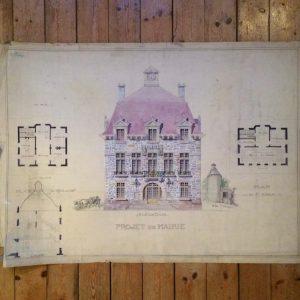 Plan de maison dessin d'architecte – projet de mairie vers 1925