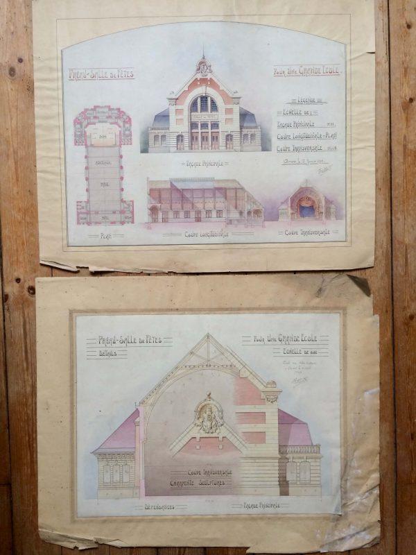 Plan de maison dessin d'architecte - une grande école double planche