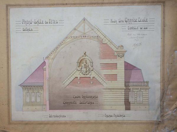 Plan de maison dessin d'architecte - une grande école vers 1910