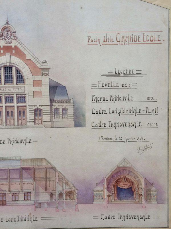 Plan de maison dessin d'architecte - une grande école vers 1910 détails