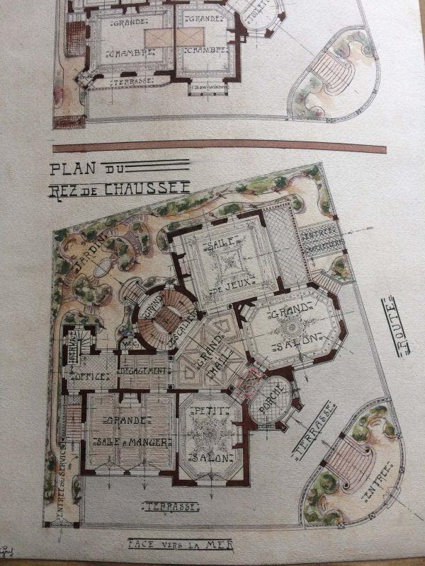 Plan de maison dessin d'architecte - une grande école vers 1910 plan interieur