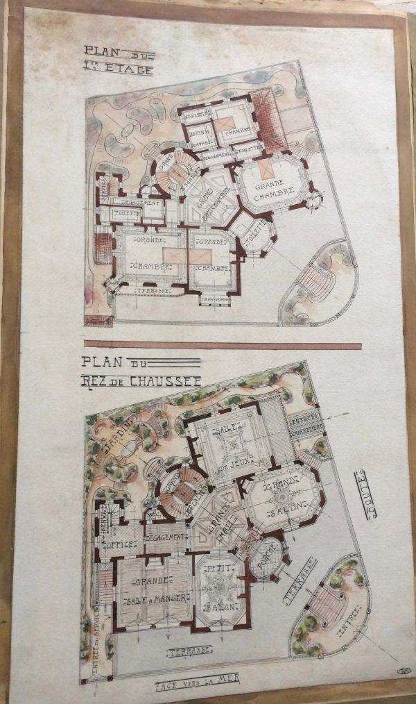 Plan de maison dessin d'architecte - une grande école vers 1910 plan interieur double