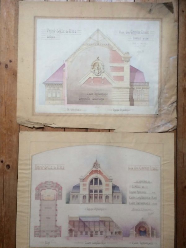 Plan de maison dessin d'architecte - une grande école vers 1910 planches doubles