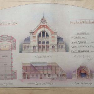 Plan de maison dessin d'architecte – une grande école vers 1910