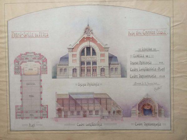 Plan de maison dessin d'architecte - une grande école vers 1910 préau