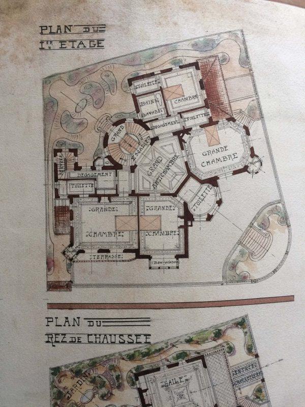 Plan de maison dessin d'architecte - une grande école vers plan