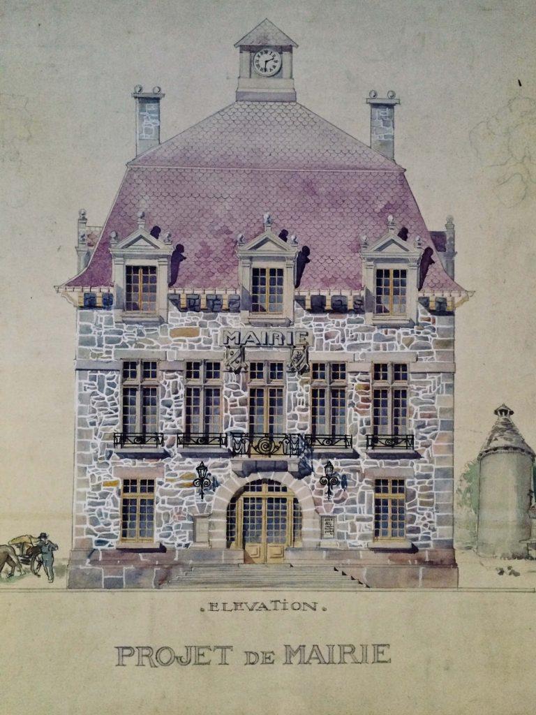 Projet de mairie en Picardie, vers 1910, avec ses plans d'intérieur et vu de coté.