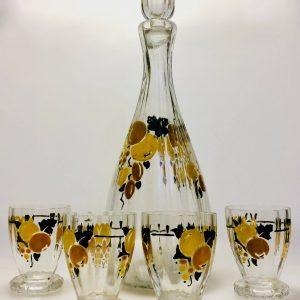 Service à liqueur en verre émaillé de fleurs art nouveau