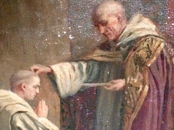 Tableau ancien - moine bénediction