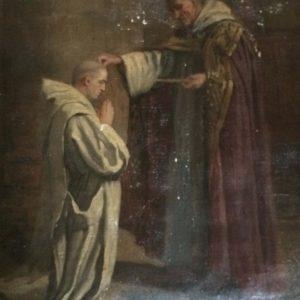Tableau ancien – Moine donnant la bénédiction