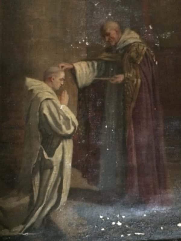 Tableau ancien - moine donnant la bénediction