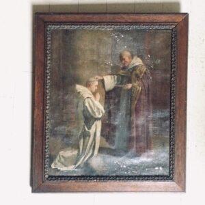 Tableau ancien - moine donnant la bénediction carre