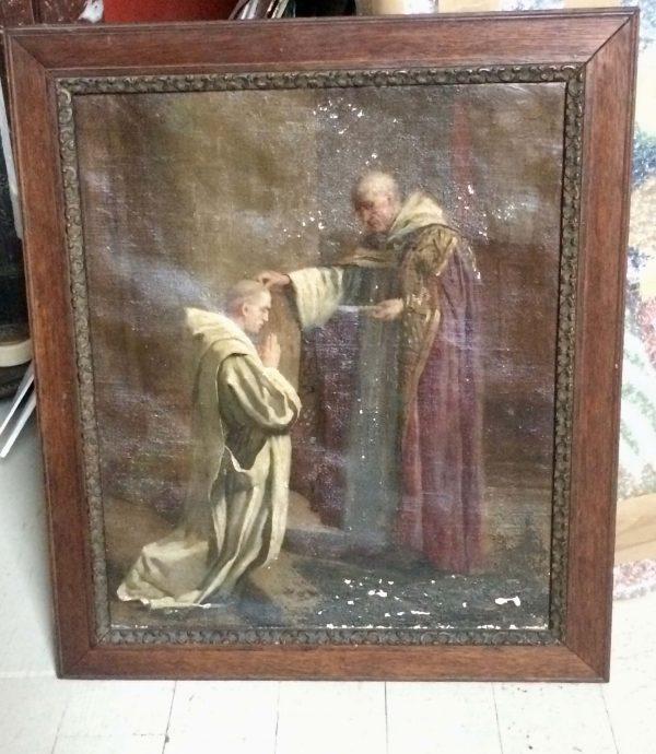 Tableau ancien - moine donnant la bénediction lumiere