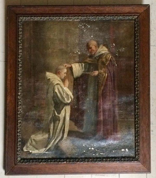 Tableau ancien - moine donnant la bénediction sombre