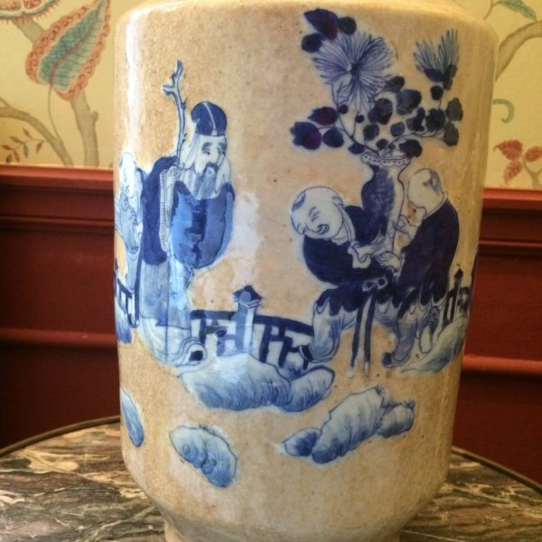 Vase nankin personnages de chine bleue