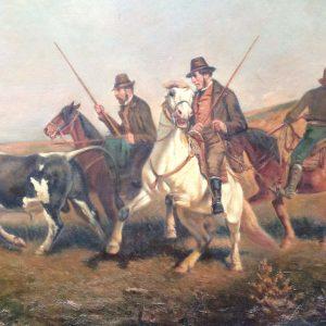 Gardians guidant un taureau – Tableau peinture signé