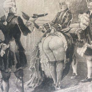 Estampe érotique – Les représailles – une fessée en public