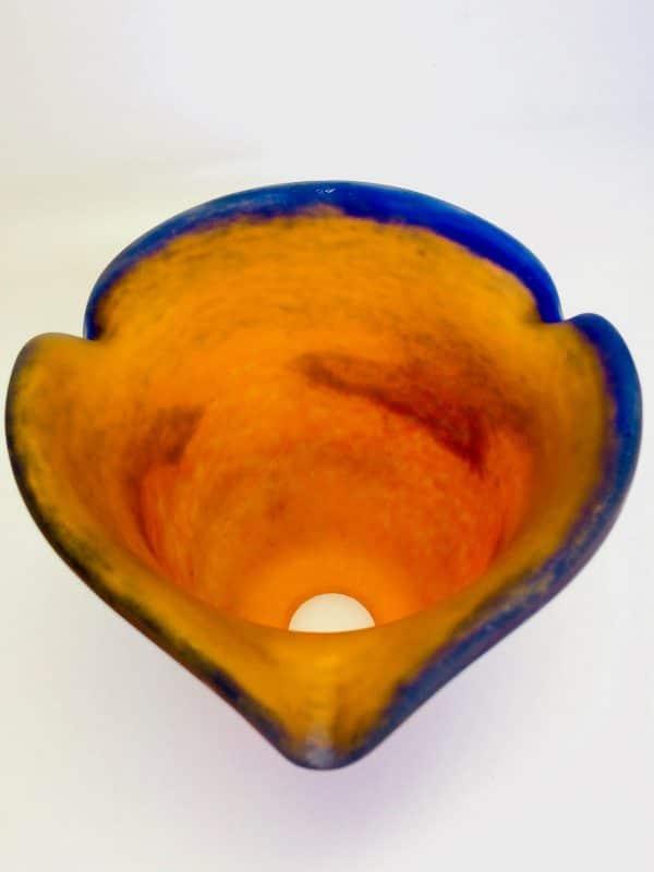 Tulipe En Pâte De Verre Degué Pour Lampe Art Déco Orange Et Bleu