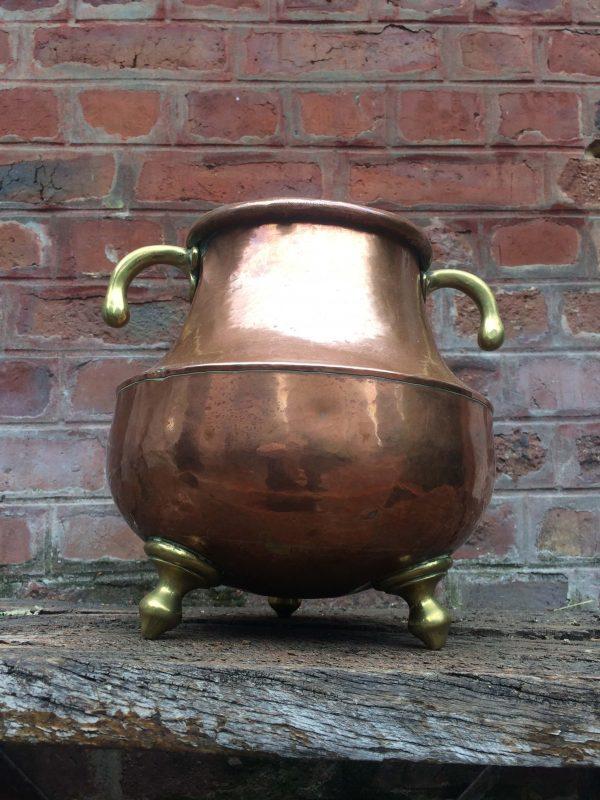 Chaudron En Cuivre Marmite Tripode Avec Poignée En Laiton Cuisine Ancienne