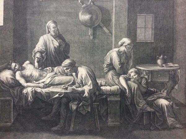 Estampe De Jean Pesne D'après Nicolas Poussin Le Testament D'eudamidas