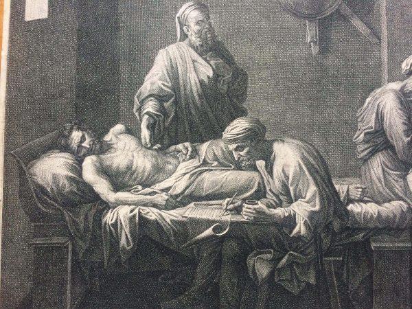 Estampe De Jean Pesne D'après Nicolas Poussin Le Testament D'eudamidas Détail
