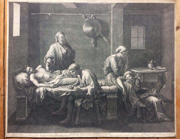 Estampe De Jean Pesne D'après Nicolas Poussin Le Testament D'eudamidas Grand