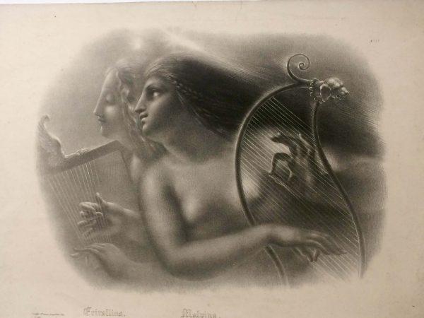 Lithographie De Girodet Trioson Erirallina Et Malvina