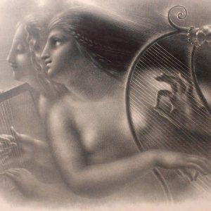 Lithographie De Girodet Trioson Erirallina Et Malvina Guerriers