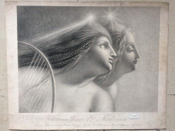 Lithographie De Girodet Trioson Evirallina Et Malvina