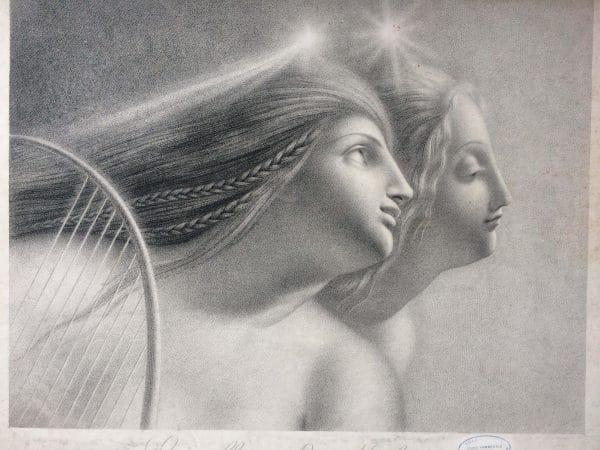 Lithographie De Girodet Trioson Evirallina Et Malvina Empereur Napoléon