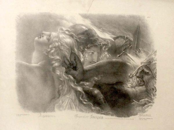 Lithographie De Girodet Trioson Guerriers Français