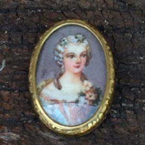Portrait peinture miniature d'une femme époque napoléon III