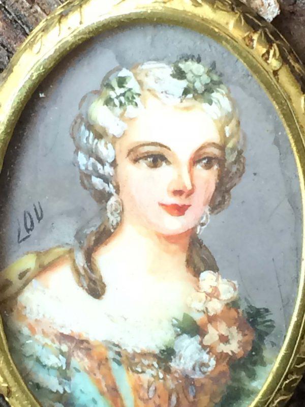 Portrait Peinture Miniature D'une Femme Époque Napoléon Iii Face