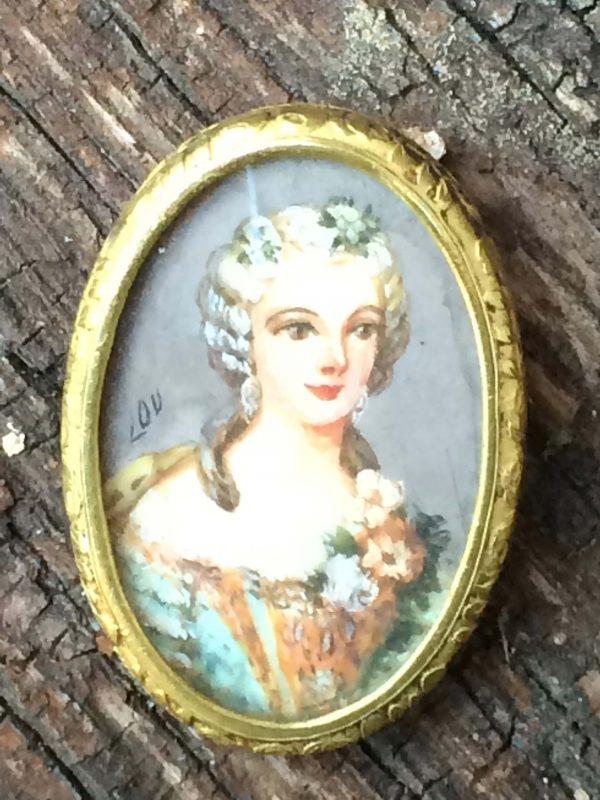 Portrait Peinture Miniature D'une Femme Époque Napoléon Iii Grand