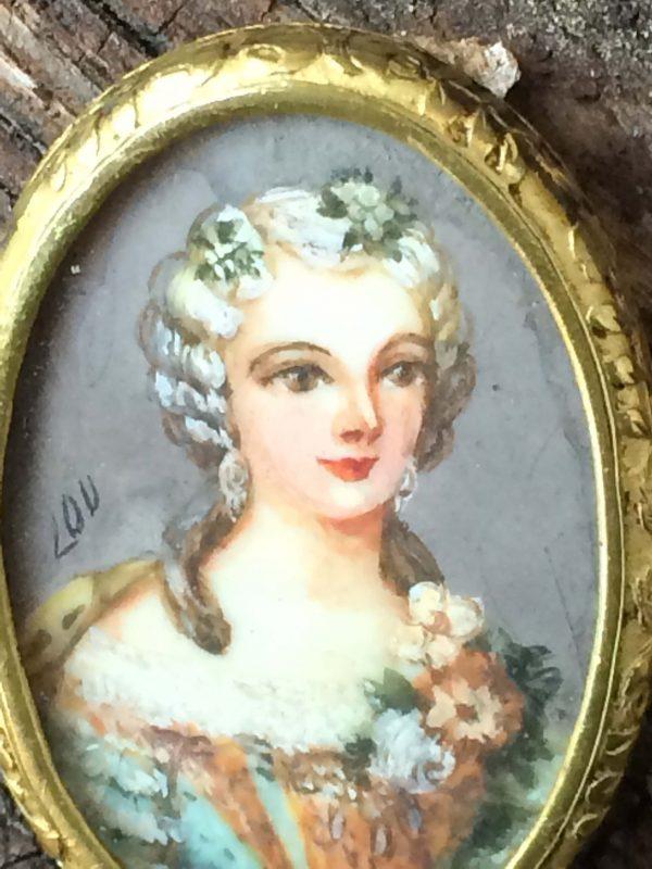 Portrait Peinture Miniature D'une Femme Napoléon Iii