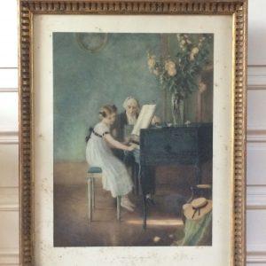 Jules-Alexis Muenier – La Leçon de Clavecin – Lithographie de Braun
