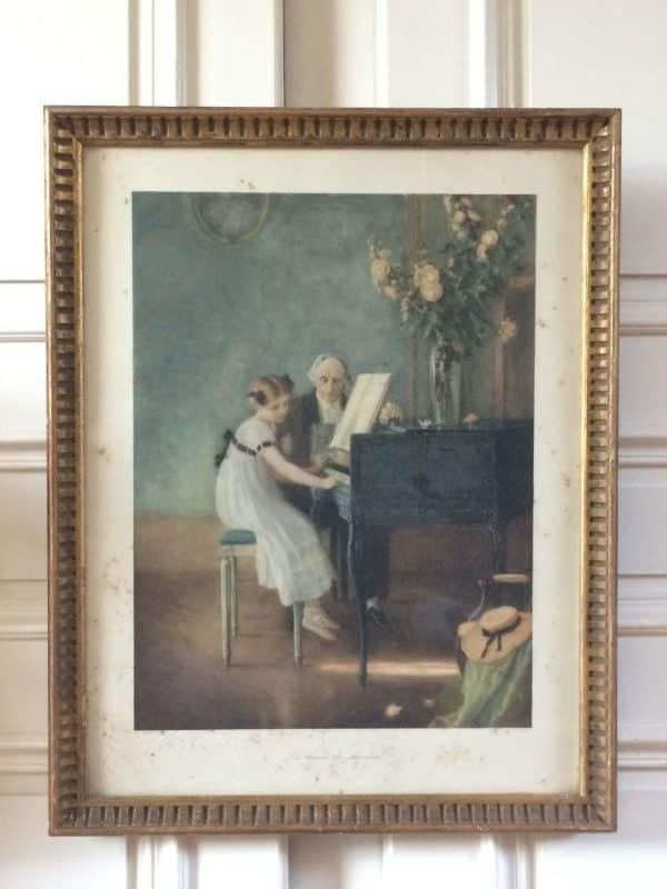 Jules Alexis Muenier La Leçon De Clavecin Lithographie De Braun 1911