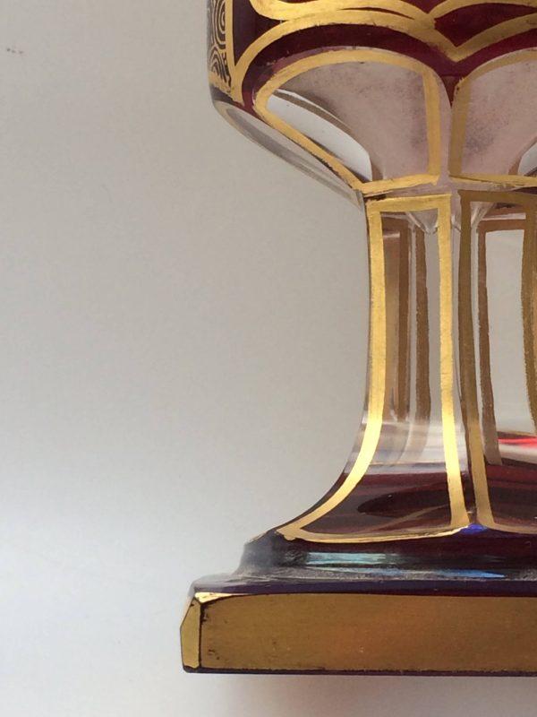 Calice En Cristal De Bohême Rouge Et Doré