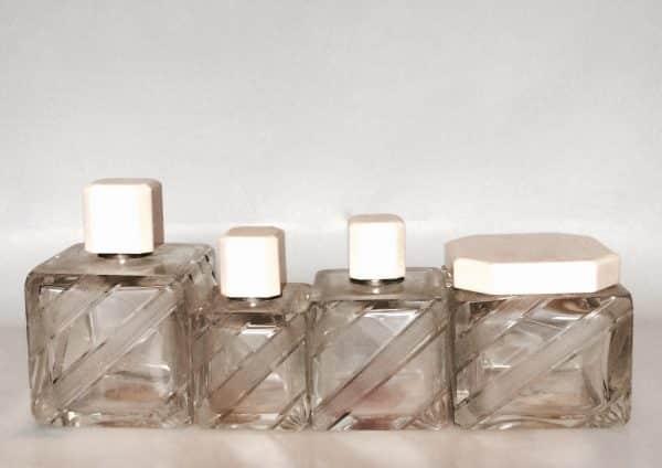 Flacons En Cristal De Bohême Art Déco Bandeau