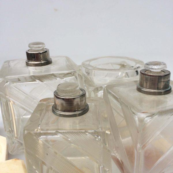 Flacons En Cristal De Bohême Art Déco Bouchon Rodé Coré