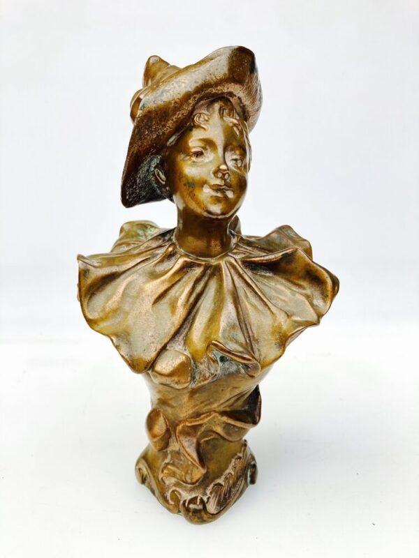 Henri Godet Buste En Bronze En Pierrot