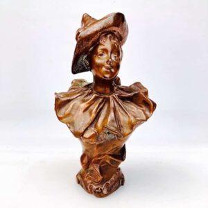 Henri Godet Buste En Bronze Jeune Femme En Pierrot