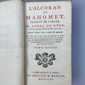 l'alcoran de mahomet traduit de l'arabe par andré du ryer 1770 page de garde
