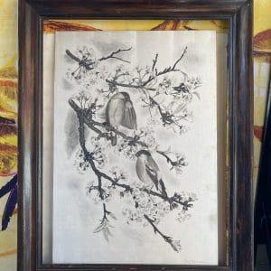 tavy notton les mésanges estampe en noire sur soie tableau signé