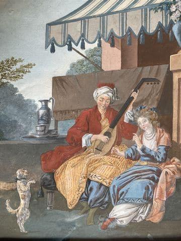 dessin gouache par leprince – musicien et son chien