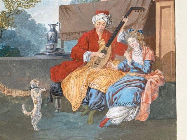 dessin à la gouache par leprince – musicien et son chien détails